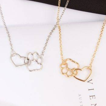 Pet Paw and Heart Shaped Pendant Necklace Chains & Necklaces 8d255f28538fbae46aeae7: Gold|Silver
