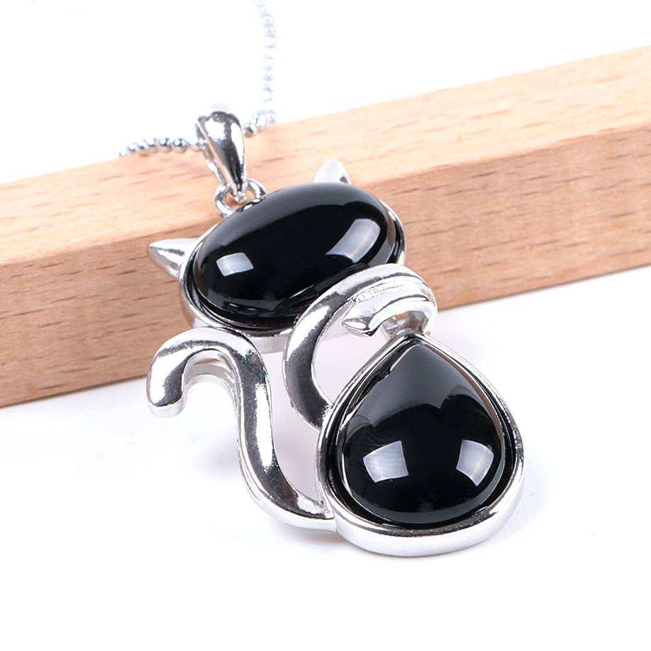 Cute Cat Shaped Necklace with Natural Stone Chains & Necklaces cb5feb1b7314637725a2e7: Amethyst Black Agate Blue Sand Brown Sand Green Aventurine Malachite Opal Red Agate Red Turquoise Rose Quartz Tiger Eye White Turquoise