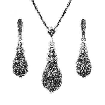 Rhinestone Water Drop Earrings And Necklace Jewelry Set Sets 088aa97add323087f3d795: Black