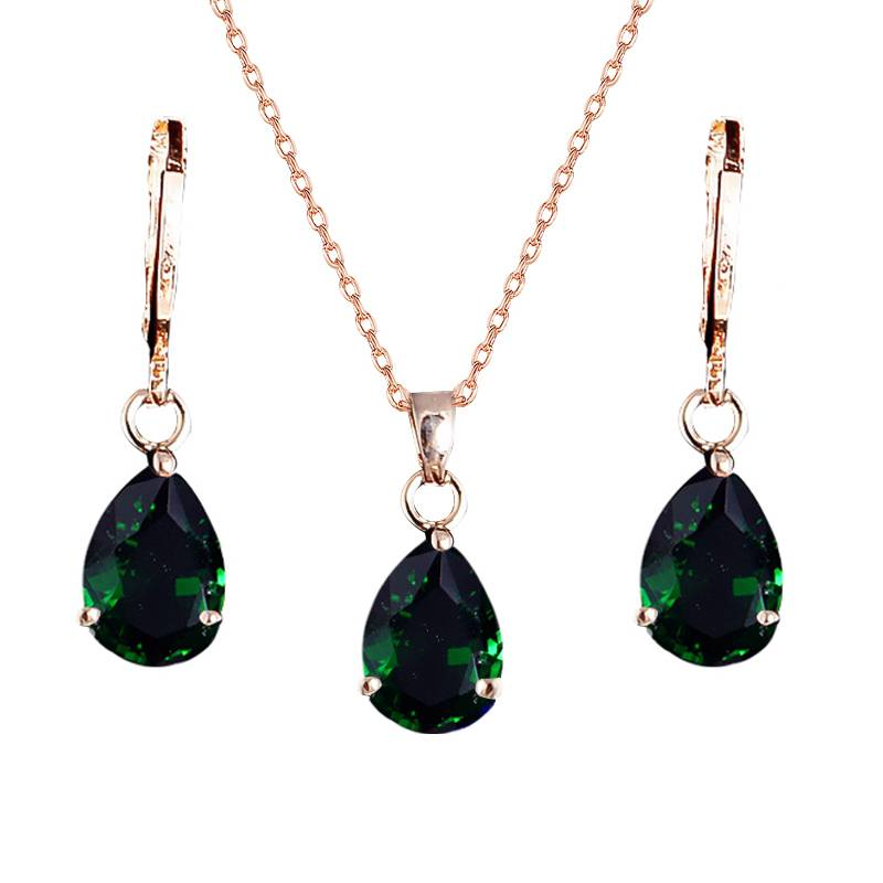 Women's Gold Wedding Jewelry Sets Sets 71f85abf496894a9a41528: Black Blue Green Red Rose Red Sea Blue White