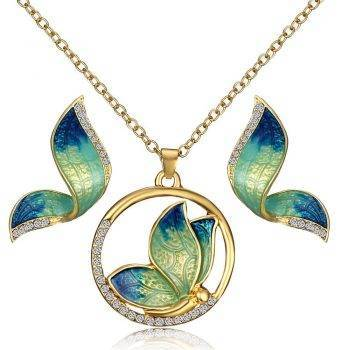 Women's Butterfly Design Jewelry Set Sets cb5feb1b7314637725a2e7: Blue|Blue Crystal|Blue Pearl|Green Crystal|Yellow|Yellow Crystal
