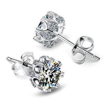 Women's Silver Earrings with Zircon Stone Earrings cb5feb1b7314637725a2e7: Silver