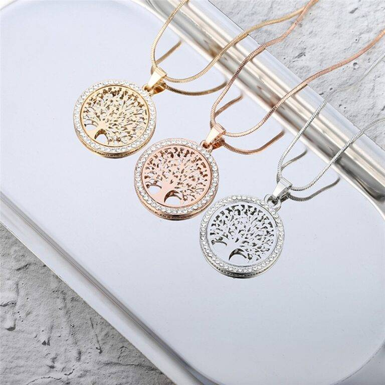 Women's Tree Of Life Crystal Round Pendant Necklace Chains & Necklaces 8d255f28538fbae46aeae7: Gold Color|Rose Gold Color|Silver Color
