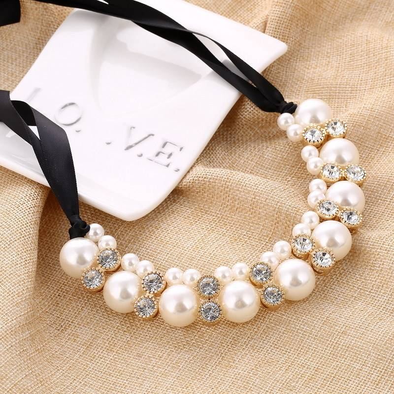 Women's Elegant Statement Necklace with Large Pearls Chains & Necklaces 8d255f28538fbae46aeae7: 3|3540|Black|White