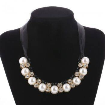 Women's Elegant Statement Necklace with Large Pearls Chains & Necklaces 8d255f28538fbae46aeae7: 3 3540 Black White
