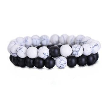 Classic Natural Stone Yin Yang Beaded Bracelets, 2Pcs/Set Bracelets cb5feb1b7314637725a2e7: Blue Hot Pink|Green Black|Red Black|White Black|White Green|White Red|White Yellow|Yellow Black|Yellow Blue|Yellow Red