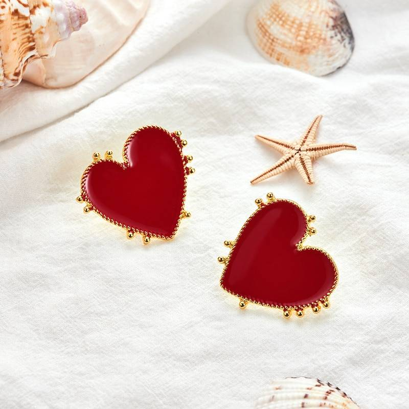 Women's Red Heart Shaped Earrings Earrings cb5feb1b7314637725a2e7: Red