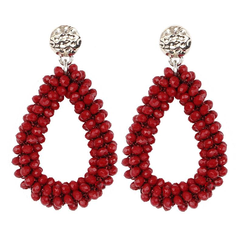Women's Crystal Raindrop Earrings Earrings cb5feb1b7314637725a2e7: Beige|Black|Blue|Bright Red|Bright White|Brown|Dark Coffee|Matte Brown|Matte White|Military Green|Multicolored|Ocean Blue|Old Red|Orange Red|Pink|Purple|Sapphire|Sliver|Yellow