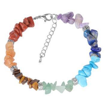 Women's Colorful Stones Slim Chain Chakra Bracelet Bracelets