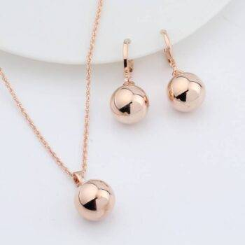 Women's Metal Ball Earrings and Necklace Set Sets 8d255f28538fbae46aeae7: Rose Gold|Silver