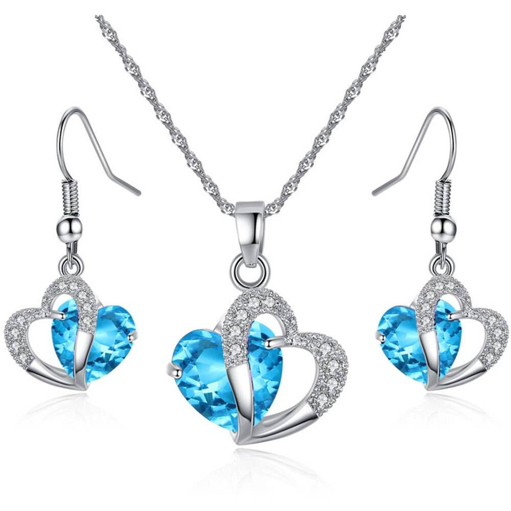 Blue Crystal Gemstone Earrings and Necklace Set Sets 1ef722433d607dd9d2b8b7: CHINA