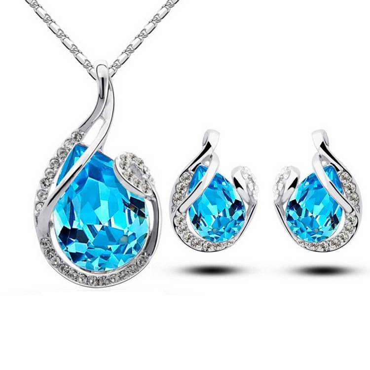 Crystal Gem Necklace and Earring Jewelry Set Sets Color: Red|Violet|White|Lake blue|Blue