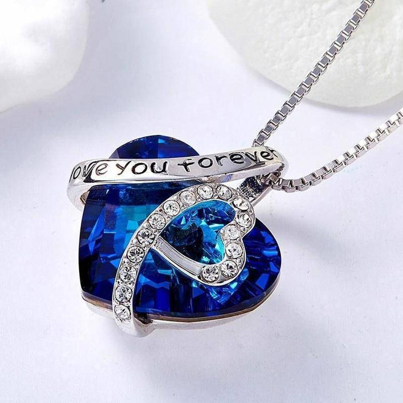 """""""I Love You Forever"""" Heart Pendant Necklace Chains & Necklaces Metals Type: Alloy + Rhinestone"""